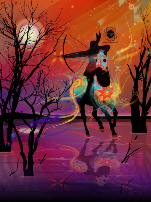 A vector illustration by Marlena Myles of Above the Stars Soldier, for the Horse Nation exhibition.